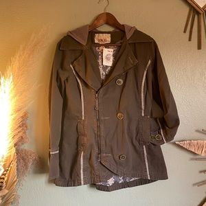 BKE Brown off centered zipper up coat with hood, M